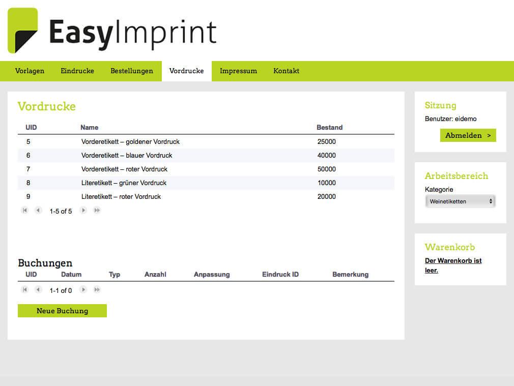 EasyImprint – Vordruck-Mengenverwaltung