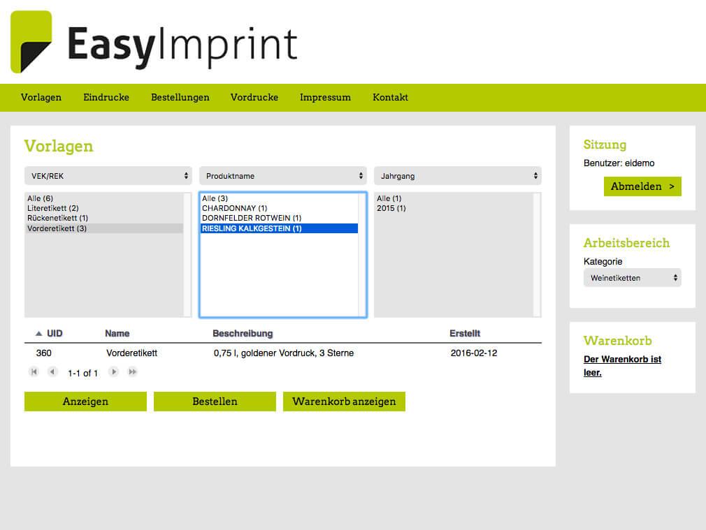 EasyImprint – Ihre Vorlagen c