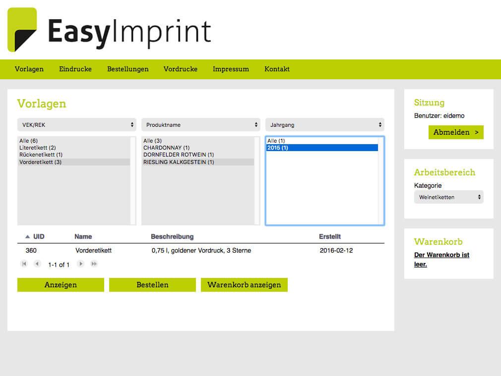 EasyImprint – Ihre Vorlagen d
