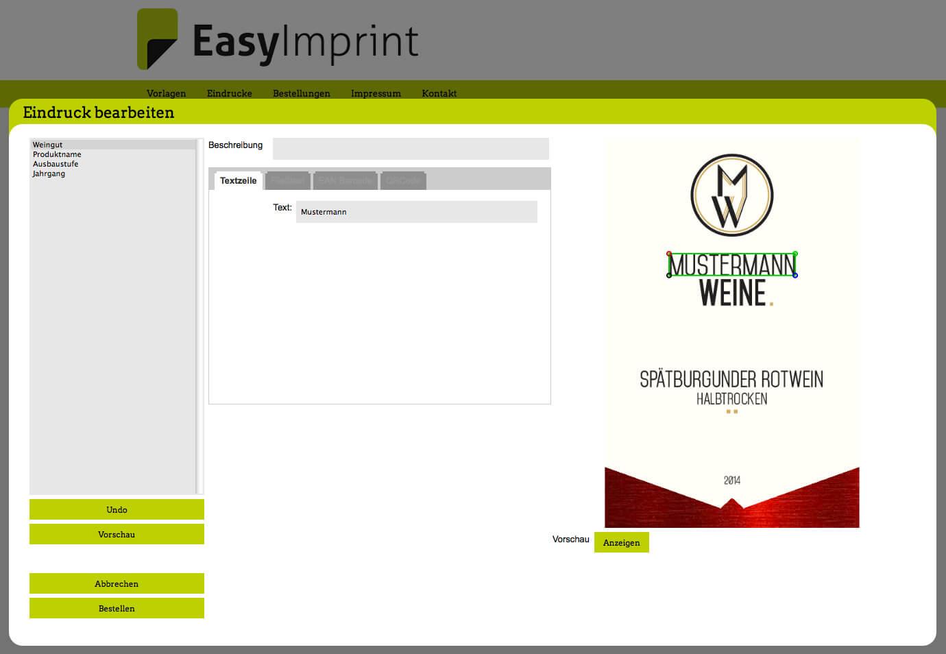 EasyImprint – Ihre Vorlagen e